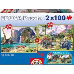 PUZZLE 2X100 DINO WORLD
