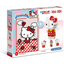 PUZZLE 104 + 3D HELLO KITTY